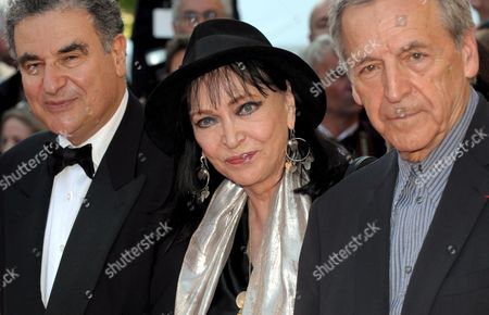 Actress Anna Karina (c) and Director Constantin Costa-gavras (r) Arrive For the Gala Screening of the French/ Italian Film 'Un Prophete' by Jacques Audiard Running in Competition in the 62nd Edition of the Cannes Film Festival in Cannes France 16 May 2009