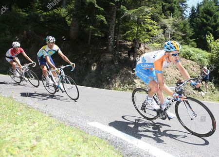 Garmin Team Rider Christian Vandevelde of the Us (r) Cycles Downhill During the 9th Stage of the Tour De France Cycling Race Between Saint Gaudens and Tarbes in France 12 July 2009