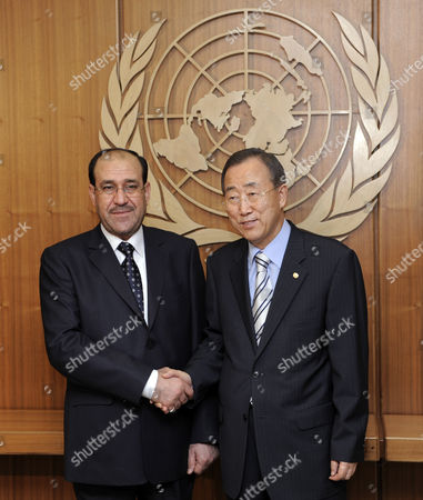 Nouri Kamil Al-maliki (l) Prime Minister of Iraq Shakes Hands with United Nations Secretary General Ban Ki-moon at the Start of a Meeting at United Nations Headquarters in New York New York Usa On 22 July 2009