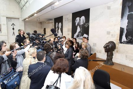 French Minister of Culture Christine Albanel (c) Speaks to the Journalists at the Picasso Museum in Paris France 10 June 2009 French Police Announced 09 June That an Artist's Sketchbook Containing 33 Drawings and Valued in Some Eight Million Euros Has Being Stolen From the Premises It is not Known When the Theft Has Happened But It Was Discovered On 09 June by Museum Workers