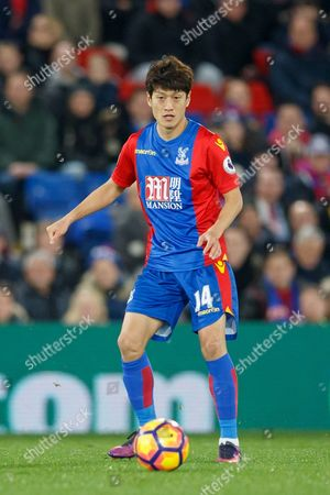Chung-Yong Lee of Crystal Palace during the Premier League match between Crystal Palace and Manchester United played at Selhurst Park Stadium, London on 14th December 2016