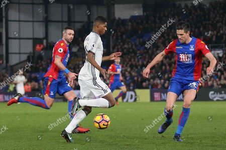 Marcus Rashford Forward of Manchester United takes on Crystal Palace Defender Martin Kelly during the Premier League match between Crystal Palace and Manchester United at Selhurst Park, London