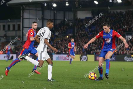 Crystal Palace Defender Martin Kelly tackles Marcus Rashford Forward of Manchester United during the Premier League match between Crystal Palace and Manchester United at Selhurst Park, London