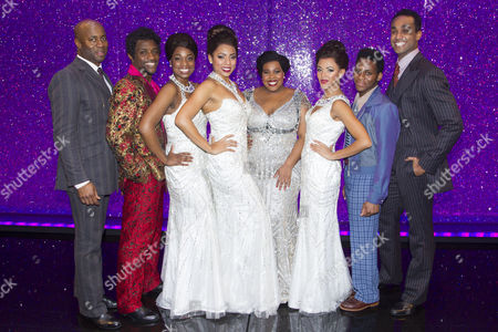 Nicholas Bailey (Marty), Adam J Bernard (Jimmy Early), Ibinabo Jack (Lorrell Robinson), Liisi LaFontaine (Deena Jones), Amber Riley (Effie White), Lily Frazer (Michelle Morris), Tyrone Huntley (CC White) and Joe Aaron Reid (Curtis Taylor Jr) backstage