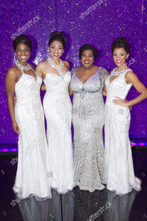Ibinabo Jack (Lorrell Robinson), Liisi LaFontaine (Deena Jones), Amber Riley (Effie White) and Lily Frazer (Michelle Morris) backstage