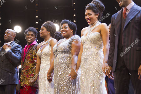 Ibinabo Jack (Lorrell Robinson), Amber Riley (Effie White) and Liisi LaFontaine (Deena Jones) during the curtain call