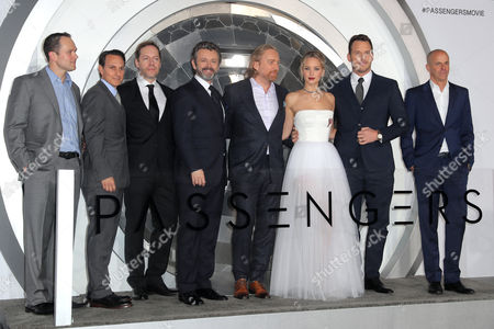 Michael Maher, Ori Marmur, Jon Spaihts, Michael Sheen, Morten Tyldum, Jennifer Lawrence, Chris Pratt and Neal Moritz