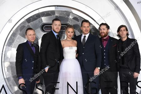 Jennifer Lawrence and Chris Pratt with Dan Reynolds, Daniel Wayne Sermon, Ben McKee and Daniel Platzman of Imagine Dragons
