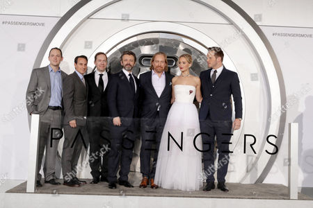 Michael Maher, Ori Marmur, Jon Spaihts, Michael Sheen, Morten Tyldum, Jennifer Lawrence, Chris Pratt