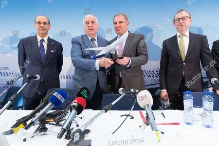 Bernard Gustin (CEO Brussels Airlines), Etienne Davignon, Carsten Spohr (CEO Lufthansa) and Karl Ulrich Garnadt