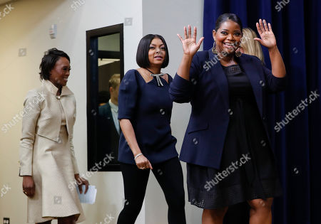 Stock Photo of Taraji P. Henson, Octavia Spencer, Margot Lee Shetterly From l-r., author Margot Lee Shetterly, actresses Taraji P. Henson, and Octavia Spencer, are introduced after the screening for the movie 'Hidden Figures' in the South Court Auditorium in the Eisenhower Executive Office Building on the White House complex in Washington, . The three women where on a panel to discuss the movie during a special screening at the White House