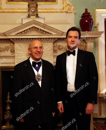 The Lord Mayor of the City of London Alderman Michael Bear (l) and Chancellor of Exchequer George Osborne (r) Pose For Photographs Prior to the Annual Dinner to the Bankers and Merchants at Mansion House in London Britain 15 June 2011 United Kingdom London