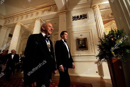 The Lord Mayor of the City of London Alderman Michael Bear (l) and Chancellor of Exchequer George Osborne (r) Arrive to the Annual Dinner to the Bankers and Merchants at Mansion House in London Britain 15 June 2011 United Kingdom London