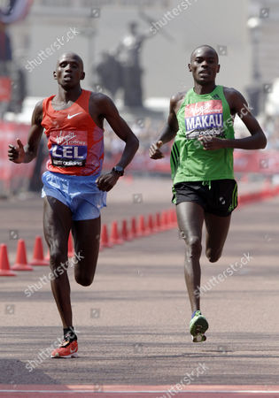 Kenya's Martin Lel (l) Finishes in Second Place Ahead of His Countryman Patrick Makau (r) Third Place in the Mens Section of the London Marathon in London England 17 April 2011 Media Reports State That 36 500 People Took Part in This Year's London Marathon Kenya's Emmanuel Mutai Won with a Time of 2 Hours 4 Minutes and 38 Seconds United Kingdom London