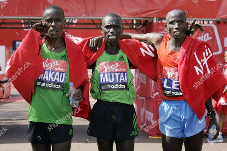 Kenyans Patrick Makau Third Place Emmanuel Mutai First Place and Martin Lel Second Place After the Mens Section of the London Marathon in London England 17 April 2011 Media Reports State That 36 500 People Took Part in This Year's London Marathon Emmanuel Mutai Won with a Time of 2 Hours 4 Minutes and 38 Seconds United Kingdom London