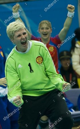 Russia's Inna Suslina Jubilates at the End of the Final Match at the Xix World Women's Handball Championship in Nanjing China 20 December 2009 Russia Won the Championship Followed by France in Second Place Norway in Third and Spain in Fourth China Nanjing