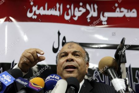 One of the Muslim Brotherhood Representatives Saad Al-katatni Addresses a Press Conference in Cairo Egypt 06 February 2011 a Broad Range of Egyptian Opposition Groups Sat Down on 06 February For the First Talks with the Government As the Country Entered Its 13th Day of Unrest But with the Spotlight Turning Towards Some Form of Negotiated Outcome However the Talks Appeared to Be Inconclusive Beyond Highlighting the Wide Gap Still Separating Opposition Demands From Government Concessions 'I Cannot See Any Seriousness on Behalf of the Regime ' Abdul Monim Abo Al-fotoh From the Muslim Brotherhood Told Broadcaster Al-jazeera Egypt Cairo