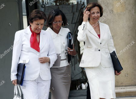 French Health and Sports Minister Roselyne Bachelot (l) Chats with French Junior Minister For Overseas Territories Marie-luce Penchard (c) and French Minister of Foreign Trade and President of the European Union Council of Ministers Anne Marie Idrac (r) As They Leave After Taking Part in the French Council Ministers at the Elysee Palace in Paris France 25 August 2010 France Paris