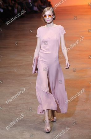 Stock Picture of Ukrainian Model Snejana Onopka Presents a Creation by Cacharel During the Paris Fashion Week Ready-to-wear Spring-summer 2011 in Paris France 02 October 2010 the Fashion Week Runs From 28 September to 06 October France Paris