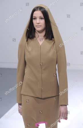 Stock Picture of A Model Presents a Creation by Spanish Designer Estrella Archs During the Presentation of the Paris Fashion Week Fall-winter 2011/12 Ready-to-wear Collection in Paris France 06 March 2011 the Fashion Week Runs From 01 March to 09 March 2011 France Paris