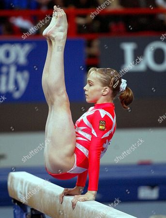 Patras Greece :spains Elena Gomez Performs in the Beam Final Competition at the Womens Artistic Gymnastic Championships in Patras Sunday 21 April 2002
