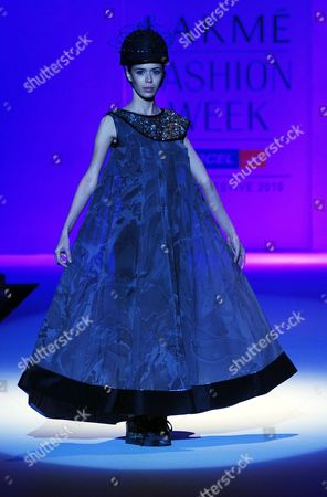 A Model Presents a Creation by Indian Fashion Designer Vivek Kumar at the Lakme Fashion Week Winter/festive 2010 in Mumbai India 20 September 2010 Some 74 Designers Will Showcase Their Collections at the Fashion Event Running From 17 to 21 September India Mumbai