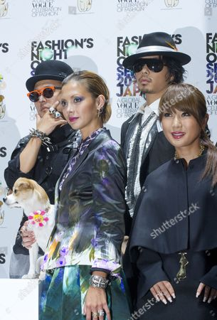 Japanese Celebrities Rapper Musician Verbal (l-r) Pon-chan (artist Takeshi Murakami's Dog and Event Mascot) Fashion Model Anna Tsuchiya Musician Kento Mori and Transexual Celebrity Ai Haruna Pose During the Vogue Fashion's Night out 2010 in the Ometesando Fashion District of Tokyo Japan 11 September 2010 Vogue Fashion's Night out First Started in 2009 Under the Supervision of the Us Vogue Editor-in-chief Anna Wintour the 2010 Edition of the Fashion Event is Held in 16 Countries Japan Tokyo