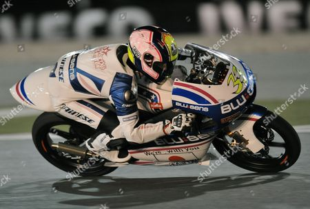 Spanish 125cc Rider Sergio Gadea of Pev-blusens-smx-paris Hilton in Action During the Final Race of the Motorcycle Grand Prix of Qatar at Al Losail International Circuit in Doha Qatar 20 March 2011 Qatar Doha