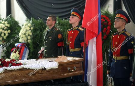 Honor Guards Stand Near the Coffin Containing the Body of Former Russian Prime Minister Viktor Chernomyrdin 73 in Moscow Russia 04 November 2010 who Has Died on 03 November 2010 Career of Viktor Chernomyrdin was Always Connected with Gas Industry He was a Minister and Later a Founder of Gazprom the Biggest Company in Russia Russian Federation Moscow
