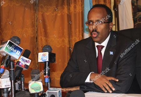 Prime Minister of Somalia Abdullahi Mohamed Speaks During a Press Conference in Mogadishu Somalia 14 June 2011 Mohamed Refused to Step Down From His Position Defying the Deal Made Between the President Sheikh Sharif Ahmed and the Speaker of Parliament Sharif Hassan Sheikh Aden Calling to Oust Mohamed While Extending the Government's Term by 12 Months Mohamed Said He Refuses to Resign Respecting His Supporters who in Hundreds Protested in Mogadishu Last Week Against President and the Speaker of Parliament Demanding Their Resignations Somalia Mogadishu