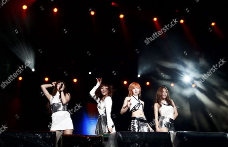 Stock Photo of Suzy Bae (l-r) Lee Min-young Meng Jia and Wang Fei of South Korea-chinese Girl Group Miss a Perform on the Pentaport Stage During the 2011 Incheon Pentaport Rock Festival in Incheon South Korea 05 Augst 2011 the Festival Runs From 05 to 07 August Korea, Republic of Incheon