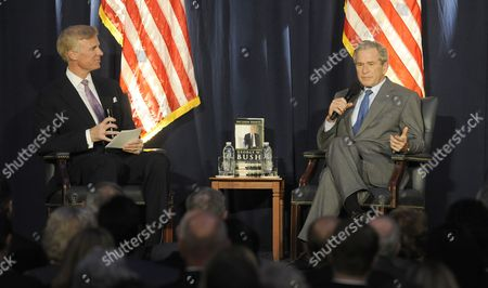 Former Us President George W Bush (r) Sits with Frederick Ryan Jr (l) the Chairman of the Ronald Reagan Presidential Foundation As He Speaks at the Ronald Reagan Presidential Library in Simi Valley California Usa 18 November 2010 Bush who is on a Book Tour Promoting His Memoir 'Decision Points' Spoke on the Topic 'Perspectives on Leadership' United States Hollywood