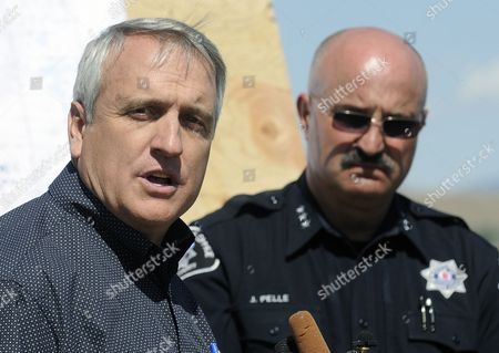 Colorado Governor Bill Ritter with Boulder County Sheriff Joe Pelle at His Side Speaks at a Press Conference Following a Tour of the Fourmile Canyon Fire Near Boulder Colorado Usa 10 September 2010 the Fire the Most Destructive in Colorado History in Terms of Homes Destroyed Could Be Fully Contained in Three to Five Days Officials Said Midday on 10 September 2010 United States Boulder