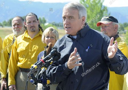 Colorado Governor Bill Ritter (c) with Local Firefighters Standing Behind Him Speaks at a Press Conference Following a Tour of the Fourmile Canyon Fire Near Boulder Colorado Usa 10 September 2010 the Fire the Most Destructive in Colorado History in Terms of Homes Destroyed Could Be Fully Contained in Three to Five Days Officials Said Midday on 10 September 2010 United States Boulder