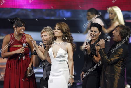 Latin Artists (l-r) Yuridia Noel Diana Reyes Olga Tanon Ricardo Montanes Performs at the 2008 Latin Billboard Award Show 10 April 2008 the Show is Produced and Broadcast From the Seminole Hard Rock Hotel and Casino in Hollywood Florida and is the Tenth Year Anniversary For the Latin Billboard Award Show United States Hollywood