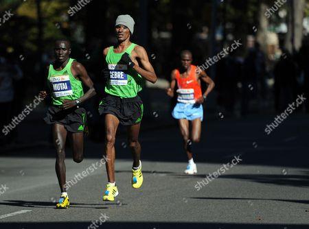 Gebre Gebremariam (c) of Ethiopia Emmanuel Mutai (l) of Kenya and Moses Kigen Kipkosgei (r) of Kenya Run During the 2010 New York City Marathon in New York New York Usa on 07 November 2010 United States New York