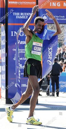 Gebre Gebremariam of Ethiopia Reacts After Crossing the Finish Line in First Place at the 2010 New York City Marathon in New York New York Usa on 07 November 2010 United States New York