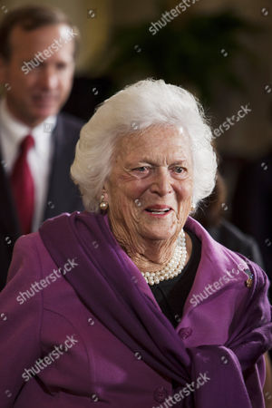 Former First Lady Barbara Bush Enters the East Room For a Ceremony where Her Husband George Herbert Walker Bush the 41st President of the United States Received the 2010 Medal of Freedom the Nation's Highest Civilian Honor From U S President Barack Obama in the White House in Washington Dc Usa on 15 February 2011 United States Washington