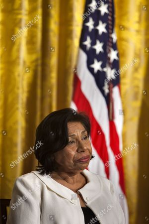 Stock Photo of Civil Rights Activist Sylvia Mendez Tears Up As U S President Barack Obama Recounts Her Struggles Against Segregation Prior to Her Receiving the 2010 Medal of Freedom the Nation's Highest Civilian Honor in a Ceremony in the East Room of the White House in Washington Dc Usa on 15 February 2011 As an Eight-year-old Her Parents Attempted to Enroll Mendez in an All-white School in Their Community But Were Denied Entry at and Were Told to Go to the School For Mexican Children Her Father and Other Parents Sued and Prevailed the Mendez V Westminster Case was a Landmark Decision in the Civil Rights Movement Against Segregation United States Washington