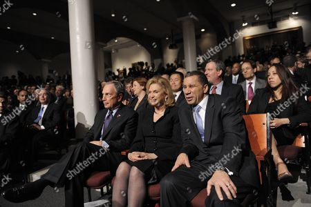 (l-r) New York City Mayor Michael Bloomberg U S Representative Carolyn Maloney and New York Governor David Patterson Talk While Waiting For the Start of a Speech by United States President Barack Obama About Reforms Aimed at Wall Street in the Great Hall at Cooper Union in New York New York Usa on 22 April 2010 in Remarks Released by the White House Before the President's Speech at Cooper Union Obama Tied the Nation's Severe Recession and Job Losses to Loose Oversight of Wall Street United States New York