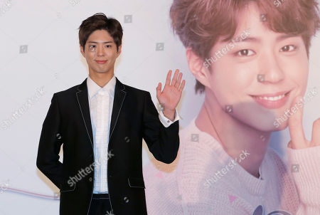 South Korean actor Park Bo-gum poses for photos during a press conference for his Asia tour in Hong Kong