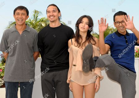 Stock Photo of Cast and Crew of the Film 'Manila' Including Adolfo Alix Jr (l) and Raya Martin (r) and Paolo Pascual (2nd L) Attend a Photocall For the Film 'Manila' by Adolfo Alix Jr and Raya Martin in the 62nd Edition of the Cannes Film Festival in Cannes France 20 May 2009