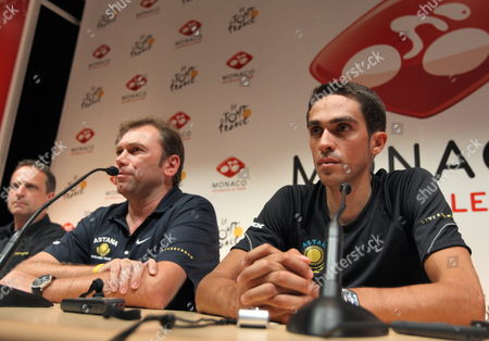 Astana Team Rider Alberto Contador of Spain (r) and Team Director Johan Bruyneel Attend a Press Conference Ahead of the Departure of the Tour De France Cycling Race in Monaco July 03 2009