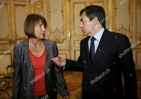 French Prime Minister Francois Fillon (r) Chats with Culture Minister Christine Albanel (l) After His Speech at Matignon in Paris France 14 May 2009 to Present and to Launch the Cultural Council of Union For the Mediterranean the Union For the Mediterranean is a Community Initiated On 13 July 2008 by French President Nicolas Sarkozy As a Development of the Euromediterranean Partnership the Act Unites All Eu Members with Several Non-eu Countries That Border the Mediterranean Sea