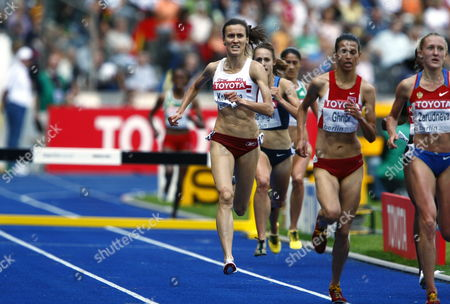 (l-r) Katarzyna Kowalska (poland) Habiba Ghribi (tunisia) and Yuliya Zarudneva (russia) Compete in the 3000m Steeplechase 1st Round at the 12th Iaaf World Championships in Athletics Berlin Germany