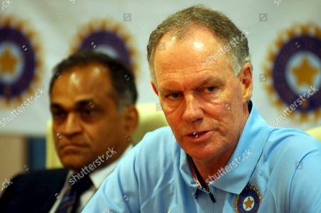 Indian Cricket Coach Former Australian Player Greg Chappell (right)speaks in a Press Conference a Day Before the Team Leaves For the Icc Cricket World Cup 2007 in Bombay Maharastra On Tuesday 27 February 2007