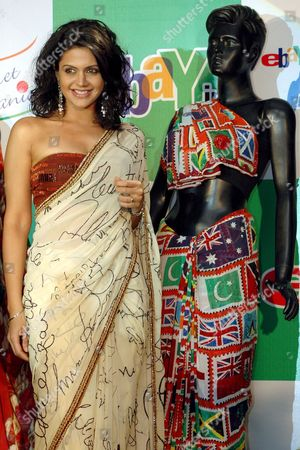Indian Cricket Anchor and Television Star Mandira Bedi Posing with Exclusive World Cup 2007 Themed Saris in New Delhi 23 February 2007 E-bay India Will Auction Collectible Items As Part of Their E-bay Cricket Mania Support to the Indian Cricket Team For the Next Month's Cricket World Cup