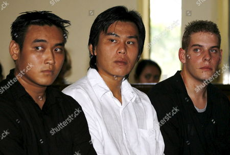 Australian Matthew Norman (r) Tan Duc Thanh Nguyen (l) and Si Yi Chen (c) Three of Six Australian Members of the 'Bali Nine' On Death Row Inside a Courtroom During Their Judicial Review Trial at Denpasar District Court in Bali Indonesia On 25 June 2007 Lawyers Argued That Indonesia's Supreme Court Was Wrong When It Upgraded Their Sentences From 20 Years' Jail to the Death Penalty