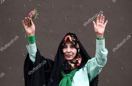 Zahra Rahnavard the Wife of Iranian Presidential Candidate Mir-hossein Moussavi Greets Supporters During an Election Rally in Tehran Iran On 09 June 2009 Supporters of Iranian Opposition Candidate of Mir-hossein Moussavi Called On 09 June For the Removal of Mahmoud Ahmadinejad From Presidency the Mainly Young Audience Replied with Slogans Such As 'Death to the Dictator ' 'Death to Taliban Both in Kabul and in Tehran ' and 'No More Lies'
