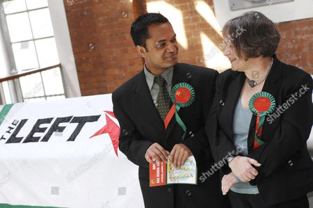 Oliur Rahman Left List councilor for Tower Hamlets and Lindsey German, Left List London Mayoral candidate.